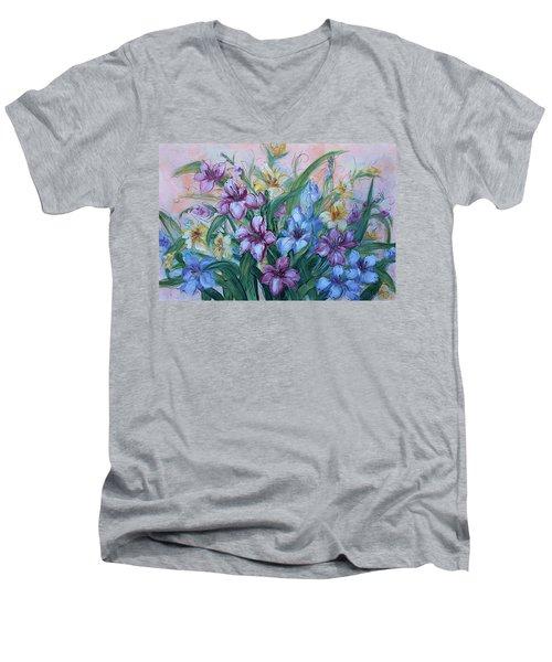 Gladiolus Men's V-Neck T-Shirt by Natalie Holland
