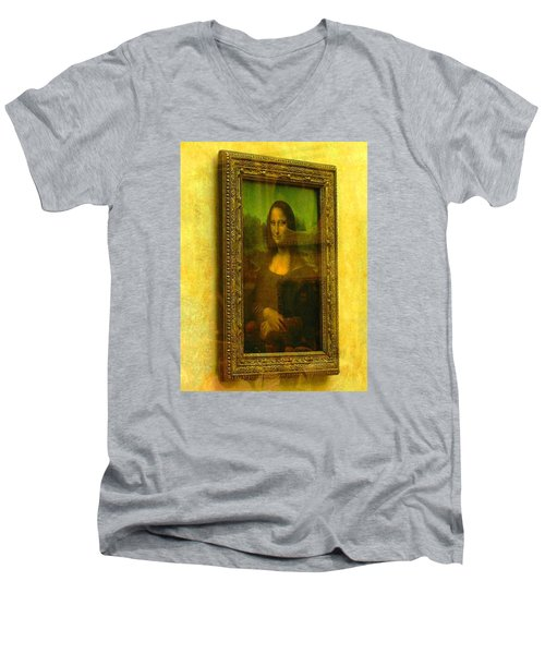 Glance At Mona Lisa Men's V-Neck T-Shirt by Oleg Zavarzin