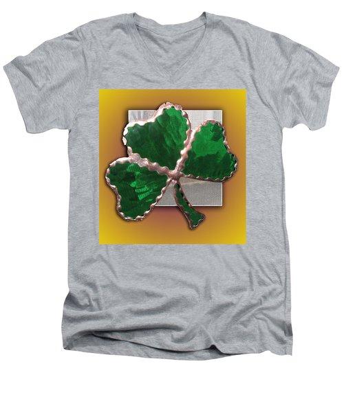 Men's V-Neck T-Shirt featuring the photograph Glass Shamrock by Barbara McDevitt
