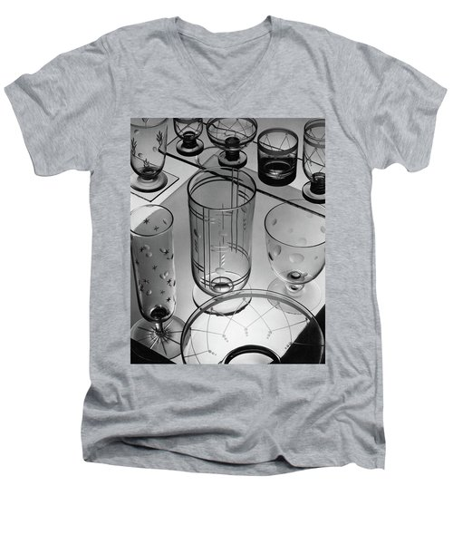 Glasses And Crystal Vases By Walter D Teague Men's V-Neck T-Shirt