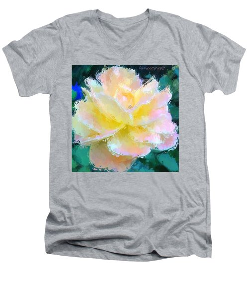 Glazed Pale Pink And Yellow Rose  Men's V-Neck T-Shirt by Anna Porter