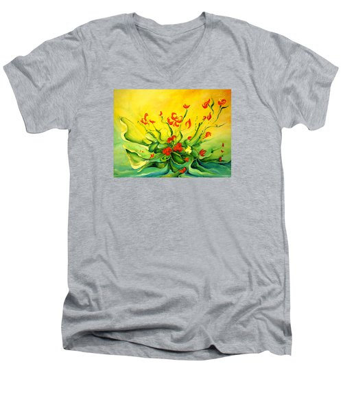 Men's V-Neck T-Shirt featuring the painting Glorious by Teresa Wegrzyn