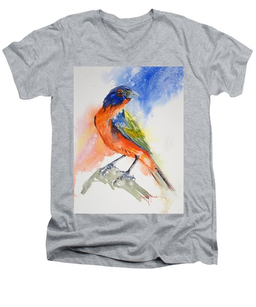 Da188 Glow Of The Painted Bunting Daniel Adams Men's V-Neck T-Shirt