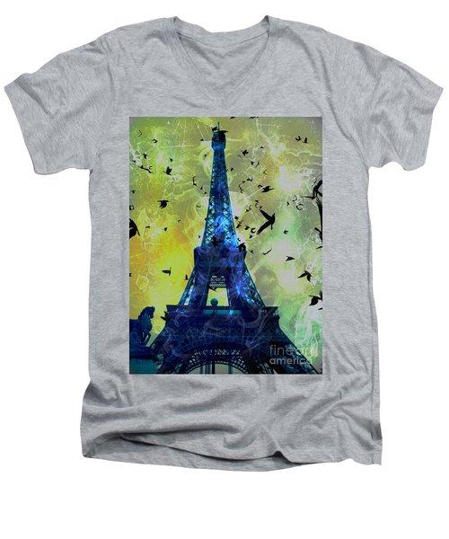 Glowing Eiffel Tower Men's V-Neck T-Shirt
