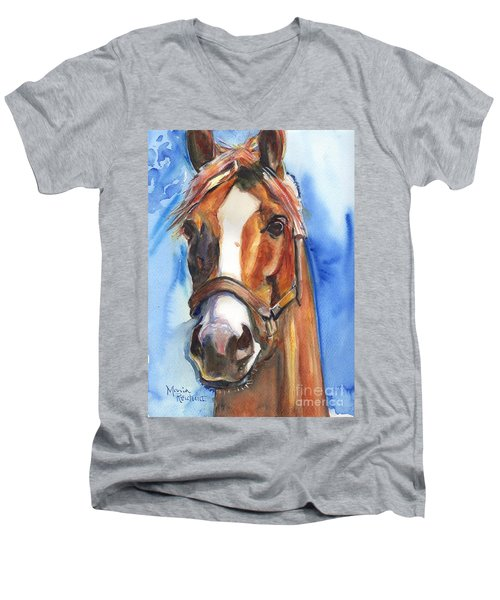 Horse Painting Of California Chrome Go Chrome Men's V-Neck T-Shirt by Maria's Watercolor