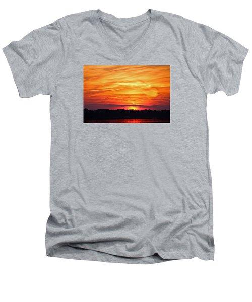 God Paints The Sky Men's V-Neck T-Shirt by Cynthia Guinn