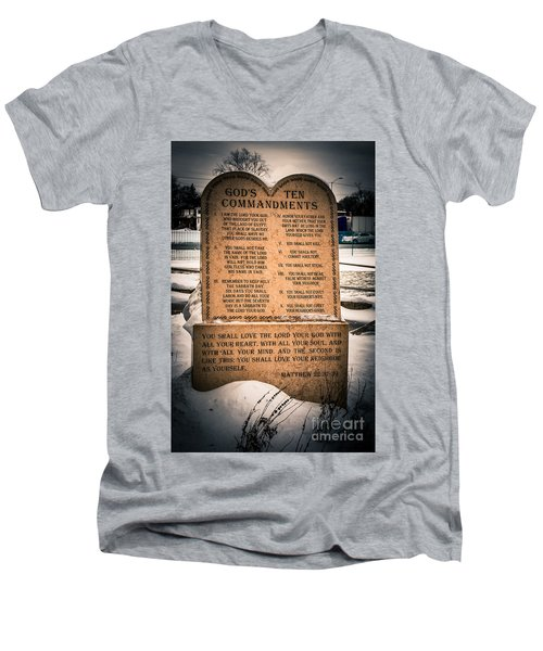 God's Ten Commandments Men's V-Neck T-Shirt
