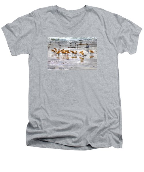 Godwits At San Elijo Beach Men's V-Neck T-Shirt