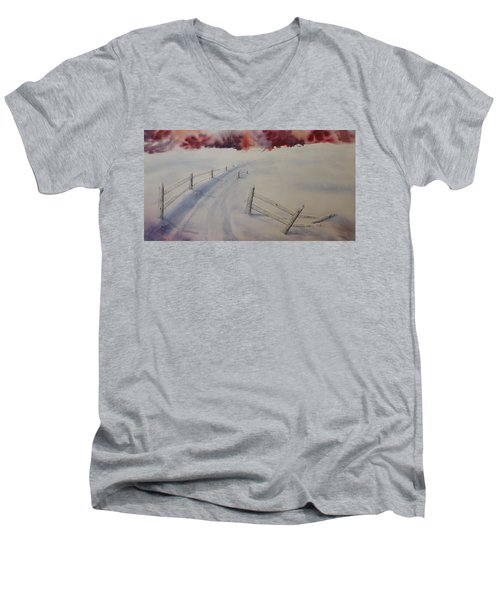 Men's V-Neck T-Shirt featuring the painting Going Home by Richard Faulkner