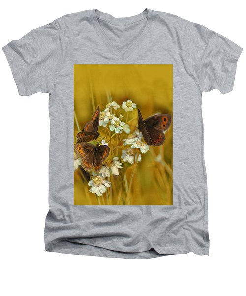 Gold And Brown Men's V-Neck T-Shirt by Jacqi Elmslie