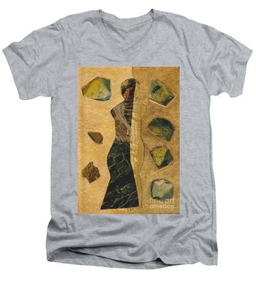 Gold Black Female Men's V-Neck T-Shirt by Patricia Cleasby