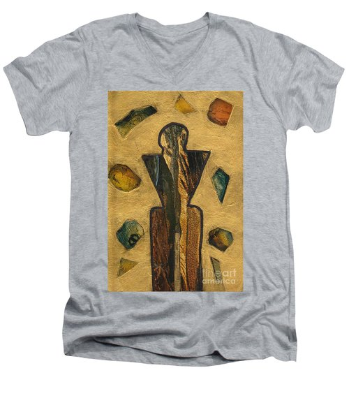 Gold Black Male Gems Men's V-Neck T-Shirt