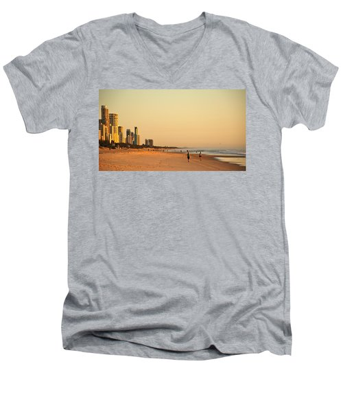 Men's V-Neck T-Shirt featuring the photograph Gold Coast Beach by Eric Tressler