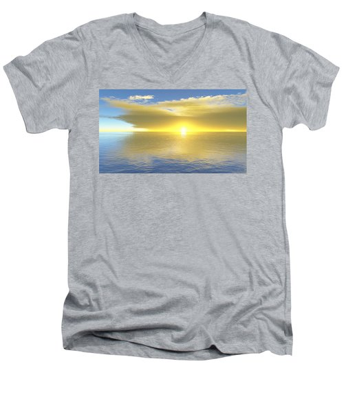 Men's V-Neck T-Shirt featuring the digital art Gold Coast by Mark Greenberg
