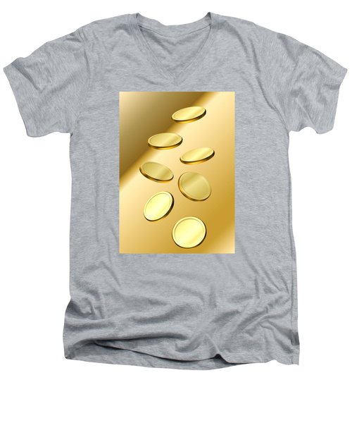 Men's V-Neck T-Shirt featuring the digital art Gold Coins by Cyril Maza