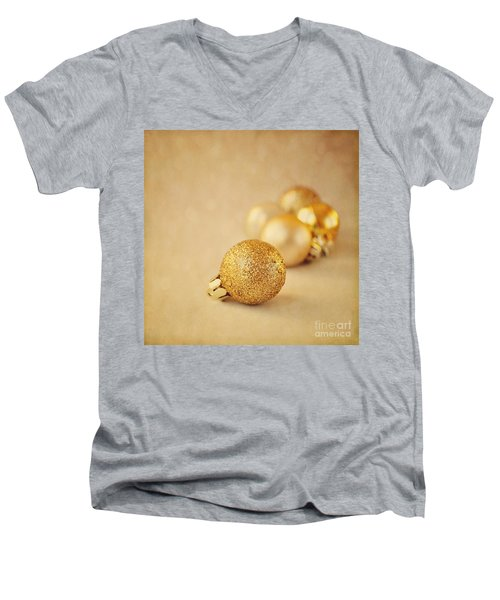 Gold Glittery Christmas Baubles Men's V-Neck T-Shirt by Lyn Randle