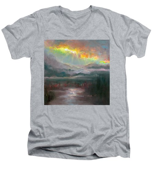 Gold Lining - Chugach Mountain Range En Plein Air Men's V-Neck T-Shirt