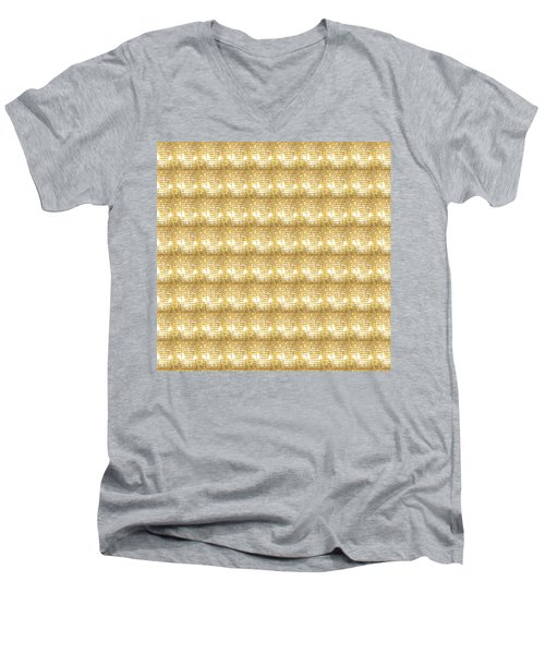 Men's V-Neck T-Shirt featuring the photograph Gold Sparkle Tone Pattern Unique Graphics by Navin Joshi