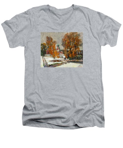 Golden Autumn Under Snow Men's V-Neck T-Shirt