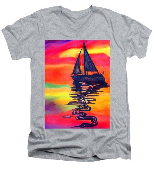 Golden Dreams Men's V-Neck T-Shirt by Lil Taylor