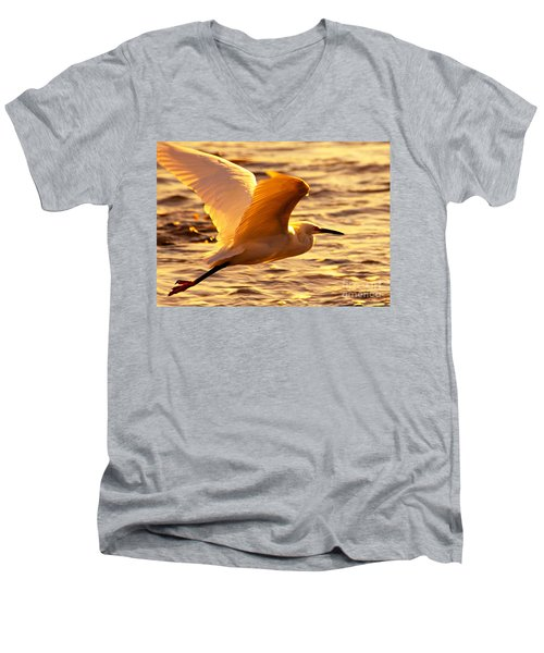 Golden Egret Bird Nature Fine Photography Yellow Orange Print  Men's V-Neck T-Shirt