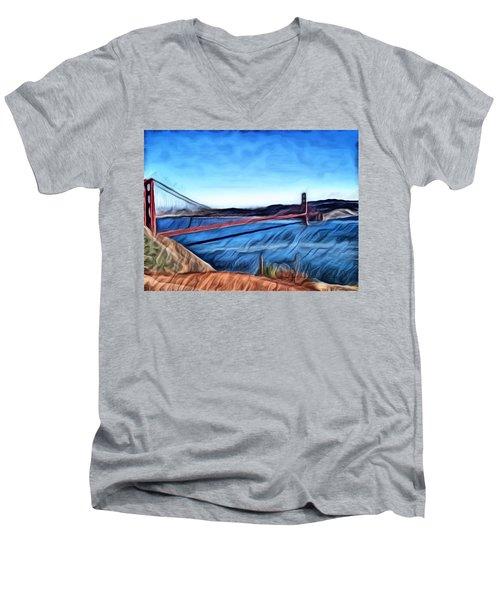 Windy Day At Golden Gate Bridge Men's V-Neck T-Shirt