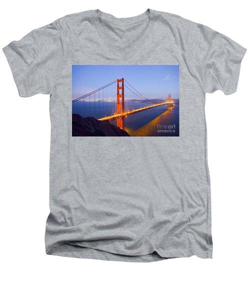 Golden Gate Bridge At Dusk Men's V-Neck T-Shirt