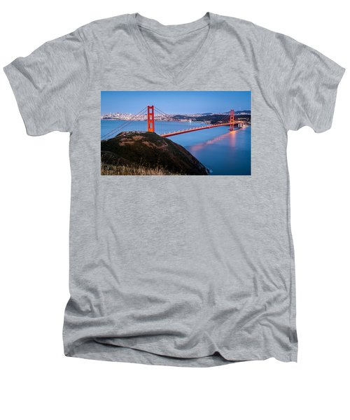 Men's V-Neck T-Shirt featuring the photograph Golden Gate Bridge by Mihai Andritoiu