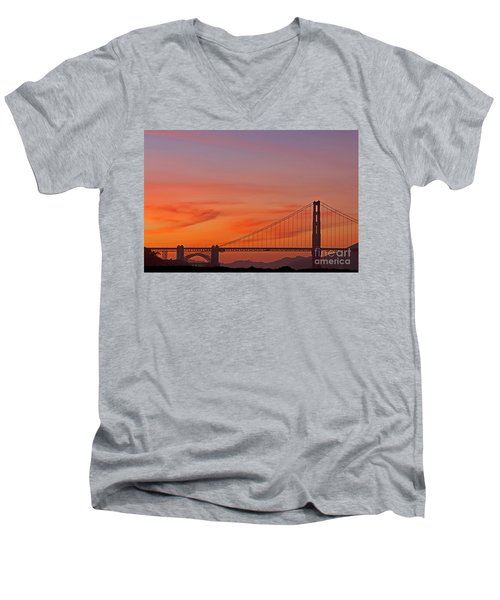 Golden Gate Sunset Men's V-Neck T-Shirt