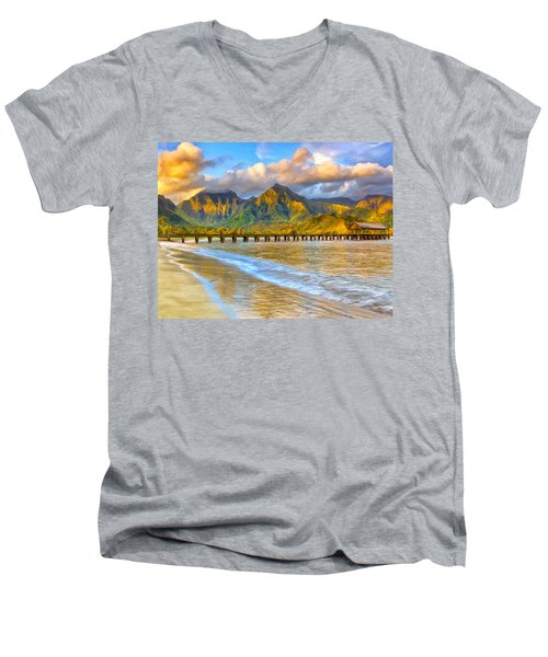 Golden Hanalei Morning Men's V-Neck T-Shirt by Dominic Piperata
