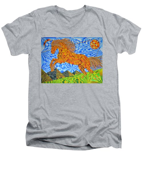 Golden Horse Over The Bitterroot's Men's V-Neck T-Shirt