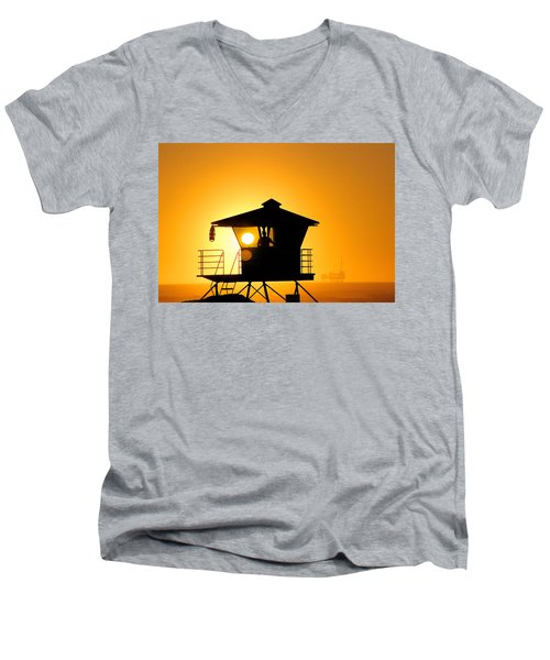 Men's V-Neck T-Shirt featuring the photograph Golden Hour by Tammy Espino