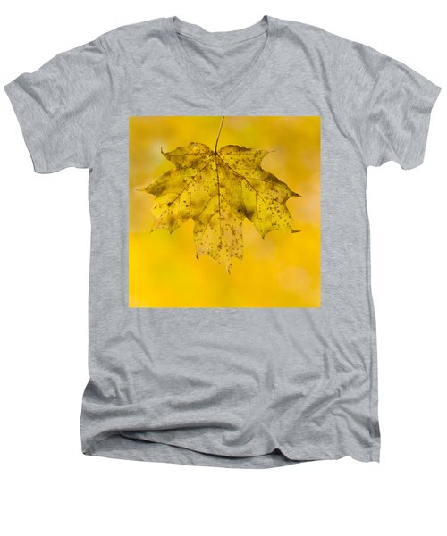 Men's V-Neck T-Shirt featuring the photograph Golden Maple Leaf by Sebastian Musial