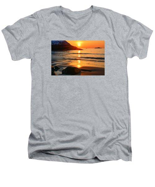 Golden Morning Singing Beach Men's V-Neck T-Shirt by Michael Hubley