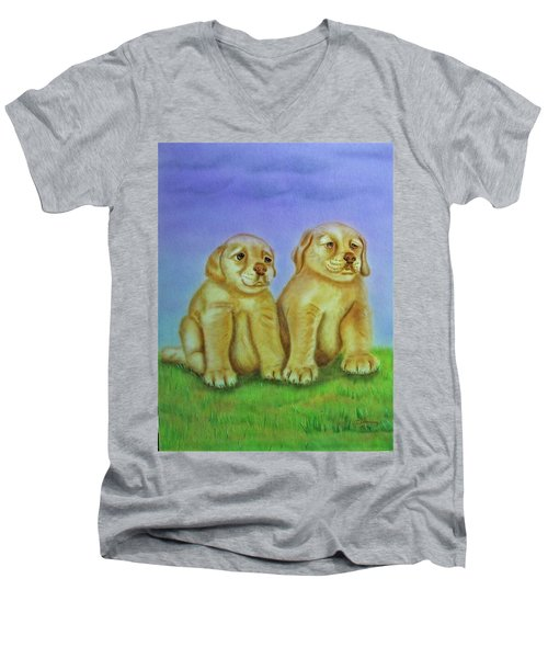 Men's V-Neck T-Shirt featuring the painting Golden Retriever by Thomas J Herring