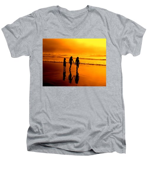 Men's V-Neck T-Shirt featuring the photograph Golden Sands  by Micki Findlay
