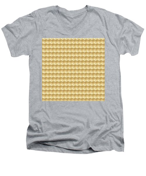 Men's V-Neck T-Shirt featuring the photograph Golden Sparkle Tone Pattern Unique Graphic V2 by Navin Joshi