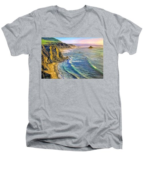 Golden Sunset At Big Sur Men's V-Neck T-Shirt