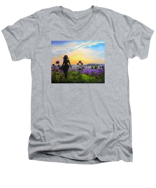 Men's V-Neck T-Shirt featuring the painting Golden Surrender by Vesna Martinjak
