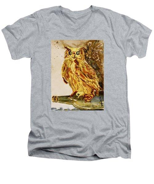 Men's V-Neck T-Shirt featuring the painting Goldene Bier Eule by Beverley Harper Tinsley