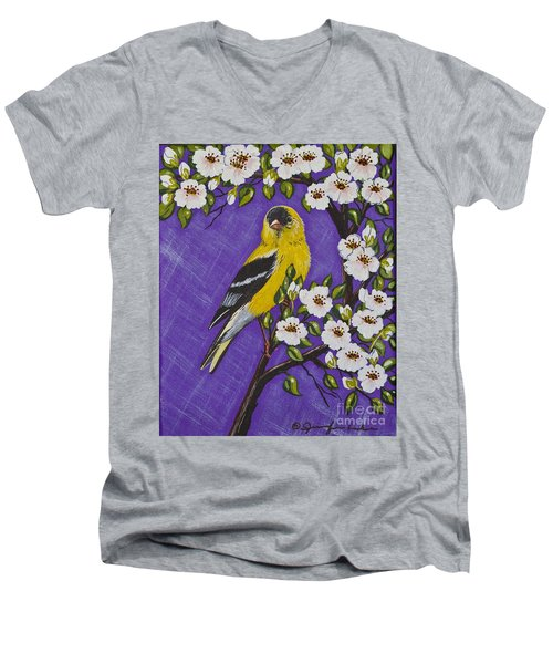 Men's V-Neck T-Shirt featuring the painting Goldfinch In Pear Blossoms by Jennifer Lake