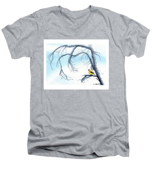 Goldfinch In Tree Men's V-Neck T-Shirt by C Sitton