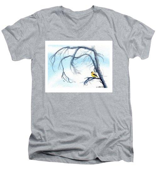 Goldfinch In Tree Men's V-Neck T-Shirt