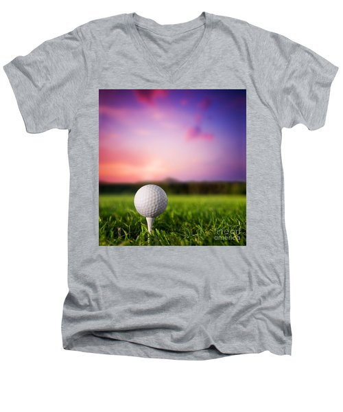 Golf Ball On Tee At Sunset Men's V-Neck T-Shirt by Michal Bednarek