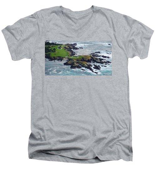 Golf Course On An Island, Pebble Beach Men's V-Neck T-Shirt