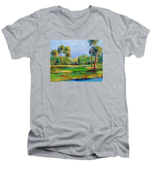 Men's V-Neck T-Shirt featuring the painting Golf In The Tropics by Lou Ann Bagnall