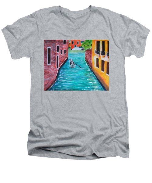 Gondola Time Men's V-Neck T-Shirt by Christy Saunders Church