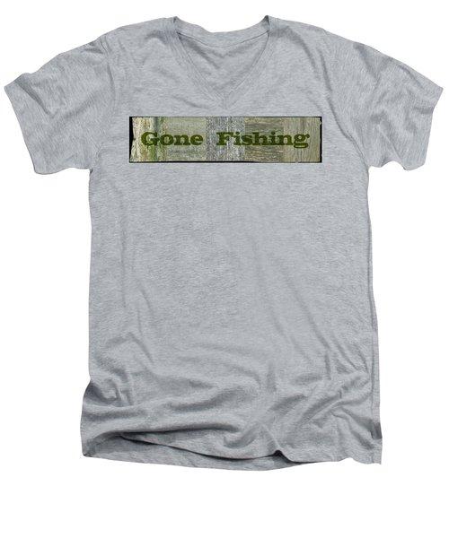 Gone Fishing Men's V-Neck T-Shirt