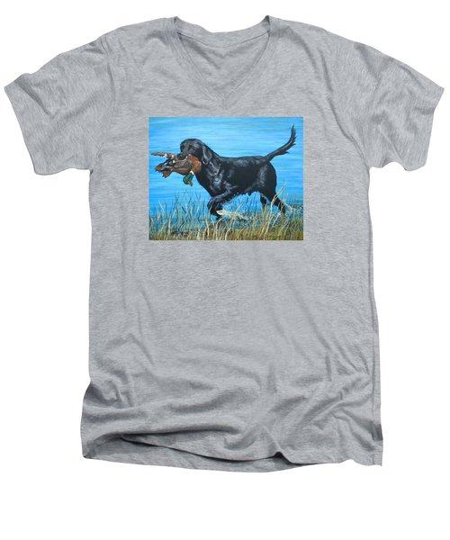 Good Dog Men's V-Neck T-Shirt by Jeanette Jarmon