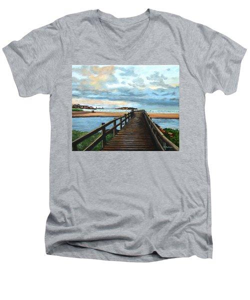 Good Harbor Beach Gloucester Men's V-Neck T-Shirt by Eileen Patten Oliver